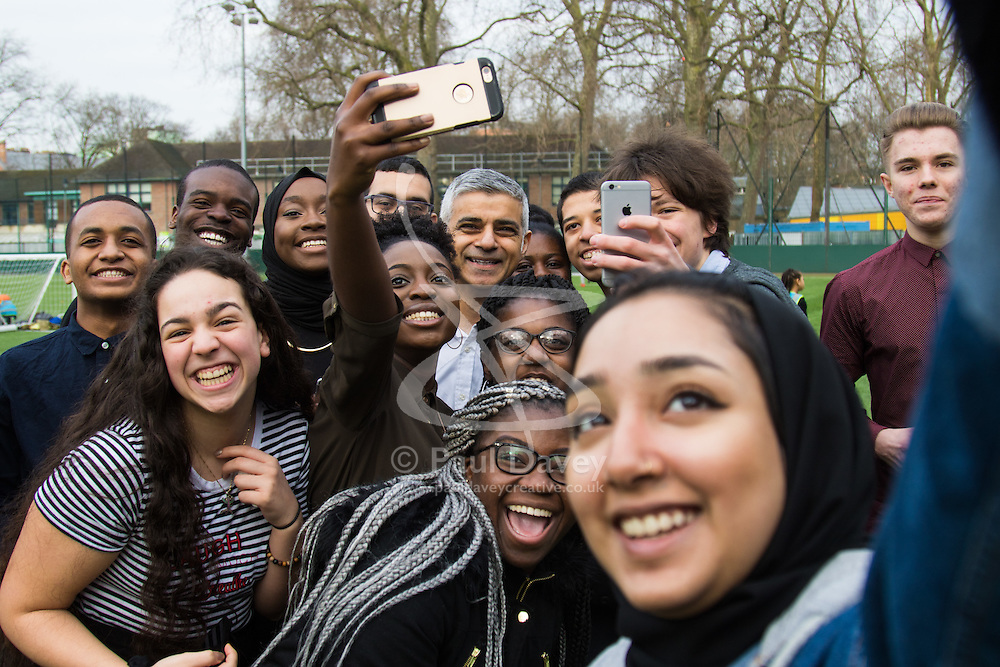 Coram's Fields Youth Centre, London, February 17th 2017. Mayor of London Sadiq Khan joins local children playing sport at Coram's Fields Youth Centre in Euston as he announces the start date for London's new 'toxic charge' - to be known as the 'T-Charge' for most polluting vehicles.