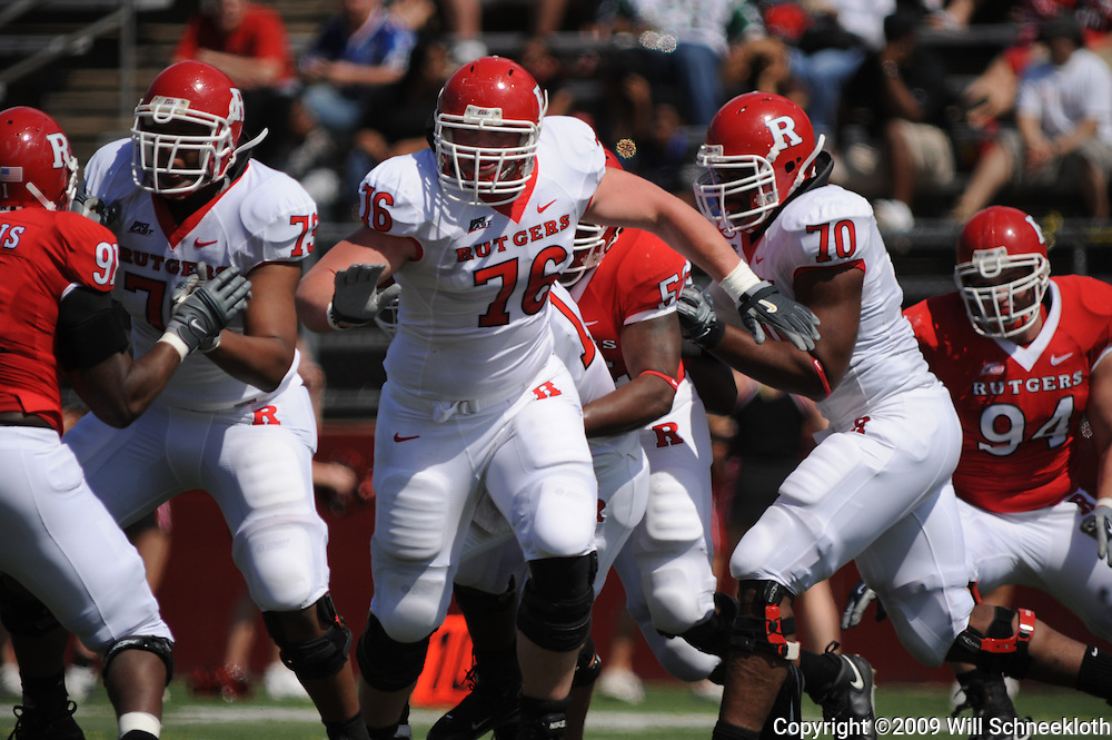 Apr 18, 2009; Piscataway, NJ, USA; Rutgers OL Desmond Stapleton (73) Mo Lange (76) and Desmond Wynn (70) block the Scarlet team defense during the first half of Rutgers' Scarlet and White spring football scrimmage.