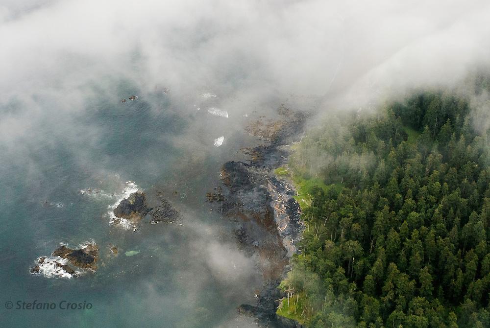 USA, Kodiak Archipelago (AK).Aerial image of Afognak Island in the Kodiak Archipelago