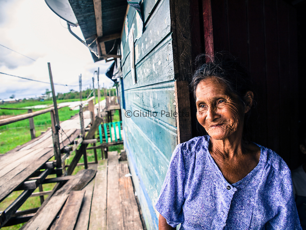 Esther, 84 years. Brazilian. She was born and raised in Islandia, a small fishing village in Peru, near the Brazilian border along the Yavari river, in the Amazon. She doesn't speak Spanish, she kept speaking only portuguese all these years. She has 12 sons and countless nephews: She actually doesn't know how many she has.