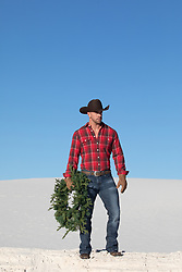 Cowboy with a Christmas Wreath