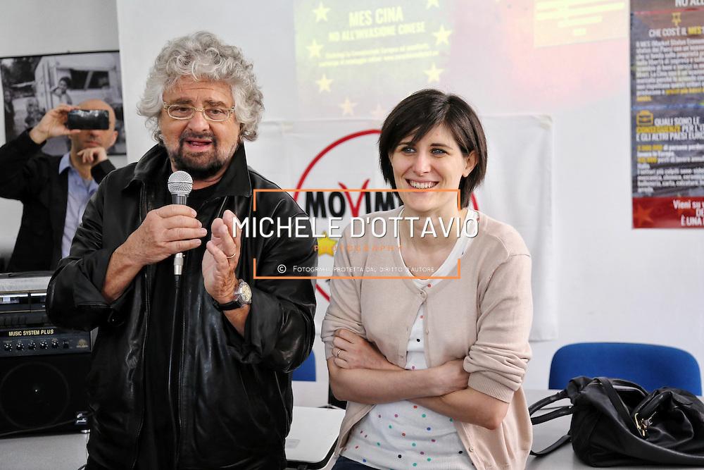 Torino 9/04/2016 : Beppe Grillo con Chiara Appendino, candidata Sindaco per il MoVimento 5 Stelle. nella sede di via Tabucchi a Torino.