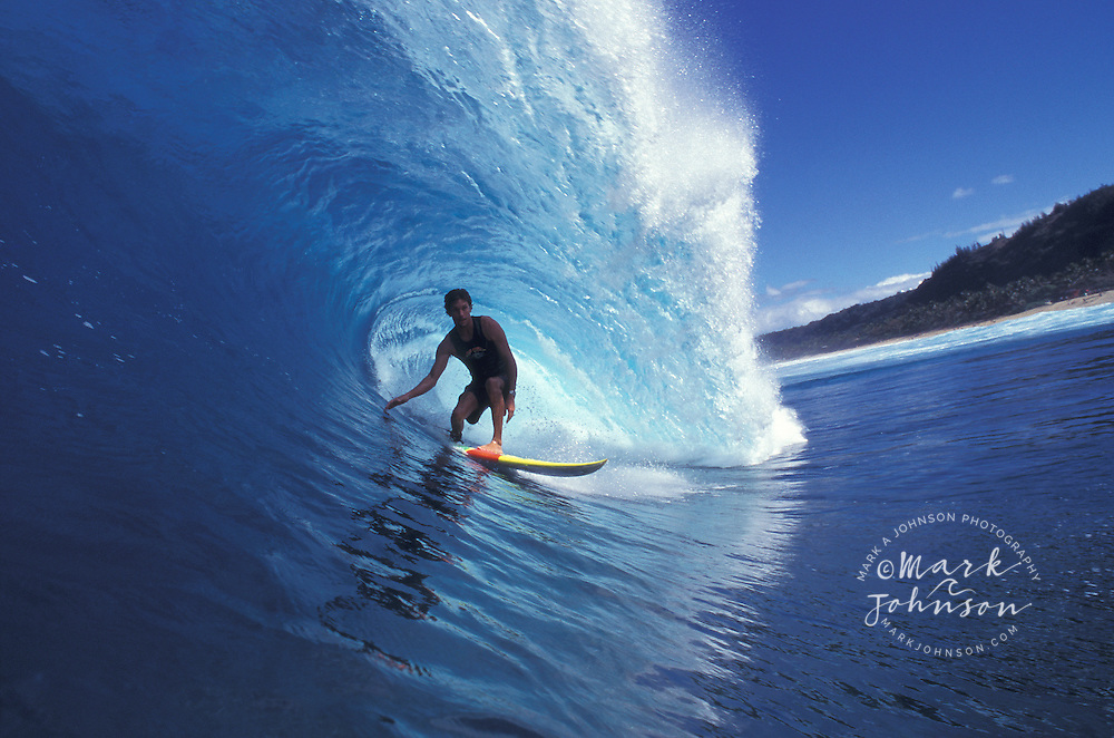 """Surfer """"in the tube"""", Backdoor Pipeline, North Shore, Oahu, Hawaii"""