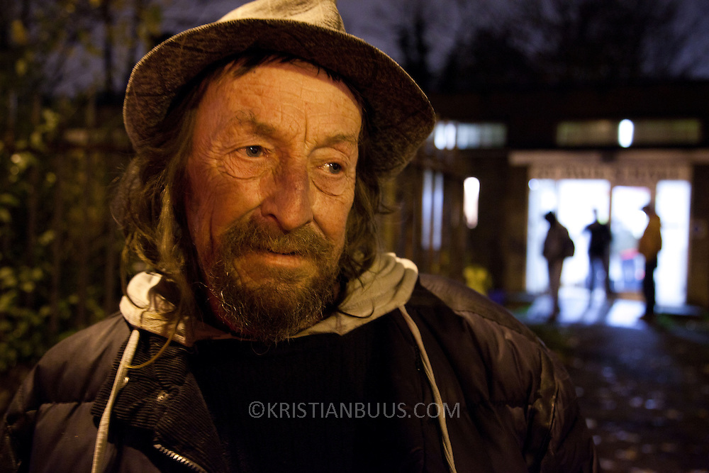 Stevie is originally from Alaska but has lived in Hackney for thirty years. He usually misses the  NLAH lunch on Mondays because he is busy getting the new Big Issue at that time but always comes for dinner on Wednesday nights.North London Action for the Homeless cookes up a three course meal for a hundred homeless men and women in Stoke Newington, London. Every Monday luch time and Wednesday evening the charity serves up a hundred meals as well as a couple of hours of respite from the streets which in November are getting very cold and wet. All the food is donated and sourced locally and most of the staff are volunteers and have been with the charity for years.