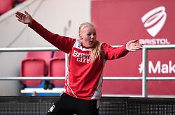 Ball girl celebrates as Bristol City Women score - Mandatory by-line: Paul Knight/JMP - 22/04/2017 - FOOTBALL - Ashton Gate - Bristol, England - Bristol City Women v Reading Women - FA Women's Super League 1 Spring Series