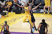 Los Angeles Sparks forward Nneka Ogwumike (30) jumps to score a basket during a WNBA basketball game against Connecticut Sun, Friday, May 31, 2019, in Los Angeles.The Sparks defeated the Sun 77-70.  (Dylan Stewart/Image of Sport)