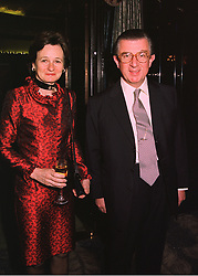 MR & MRS GEORGE MAGAN the leading City figure, at a party in London on 19th March 1998.MGD 27