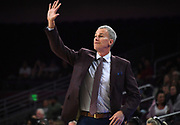 Nov 8, 2019; Los Angeles, CA, USA;  Southern California Trojans head coach Andy Enfield gestures during the game against the Portland Pilots at Galen Center USC defeated Portland State 76-65.