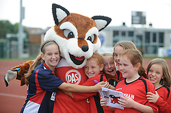 Young Bristol Academy fans with Vixen - Photo mandatory by-line: Dougie Allward/JMP - Mobile: 07966 386802 - 28/09/2014 - SPORT - Women's Football - Bristol - SGS Wise Campus - Bristol Academy Women's v Manchester City Women's - Women's Super League