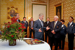 HRH Prince Philippe of Belgium receives the medalist from the Alltech FEI World Equestrian Games in Lexington  Kentucky 2010 at the Royal Palace in Brussels<br /> Speaking to Mr Jacky Buchmann, president of the Belgian Federation<br /> Also in the picture Jeroen De Clercq, John and Jurgen Panis, Joris De Brabander, Ann D'Ieteren and Michelle George.<br /> © Dirk Caremans