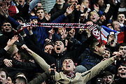 Hearts fans are ecstatic after winning the William Hill Scottish Cup 4th round match between Heart of Midlothian and Hibernian at Tynecastle Stadium, Gorgie, Scotland on 21 January 2018. Photo by Kevin Murray.
