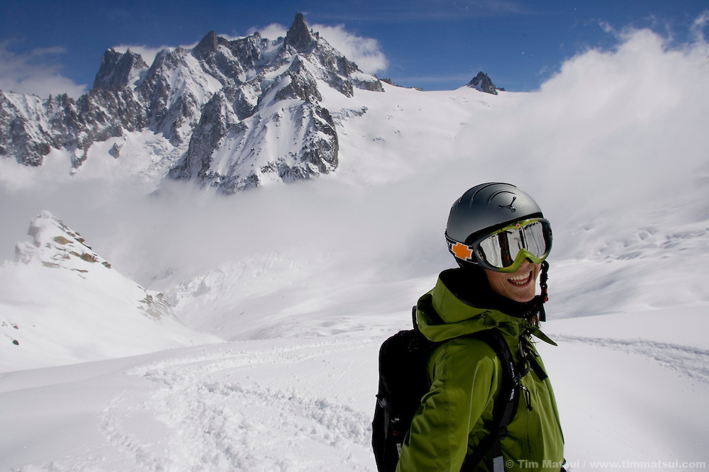 Two skiers on the Vallee Blanche Glacier, Chamonix, France.