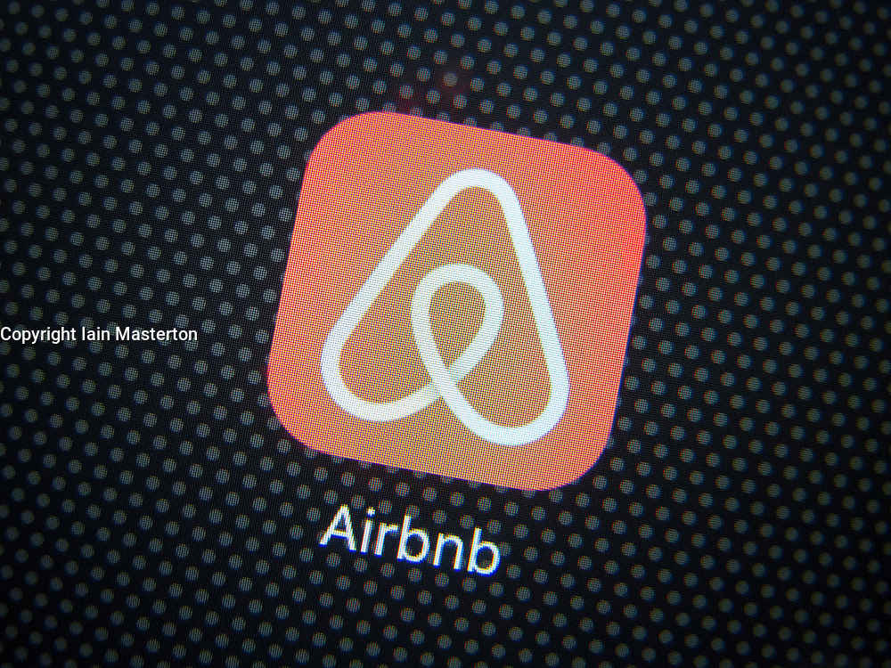 Airbnb room booking app logo on an iPhone 6 plus smart phone