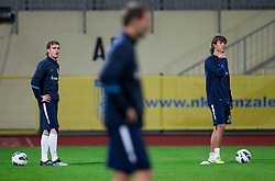 Ales Mejac and Rene Krhin during practice session of Slovenian National football team prior to the friendly match against Former Yugoslav republic of Macedonia on November 12, 2012 in Domzale, Slovenia. (Photo By Vid Ponikvar / Sportida)