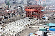 WUHAN, CHINA - APRIL 27: (CHINA OUT) <br /> <br /> Workers make the monolithic Hankou Yiyong fire association building move east on April 27, 2016 in Wuhan, Hubei Province of China. The 3-story fire association building which was built in the early Republic of China had been moved 4.5 meters on the first day and would be moved 70 more meters east in 10 days. <br /> ©Exclusivepix Media