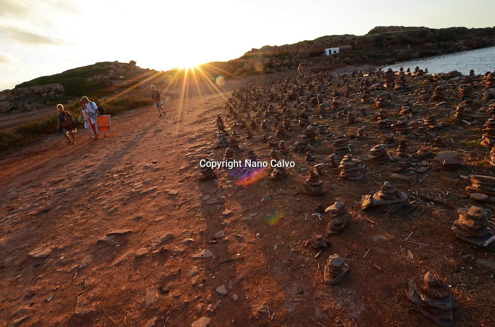Garden of stone sculptures in Cami des cavalls, path that takes to Cala Pregonda