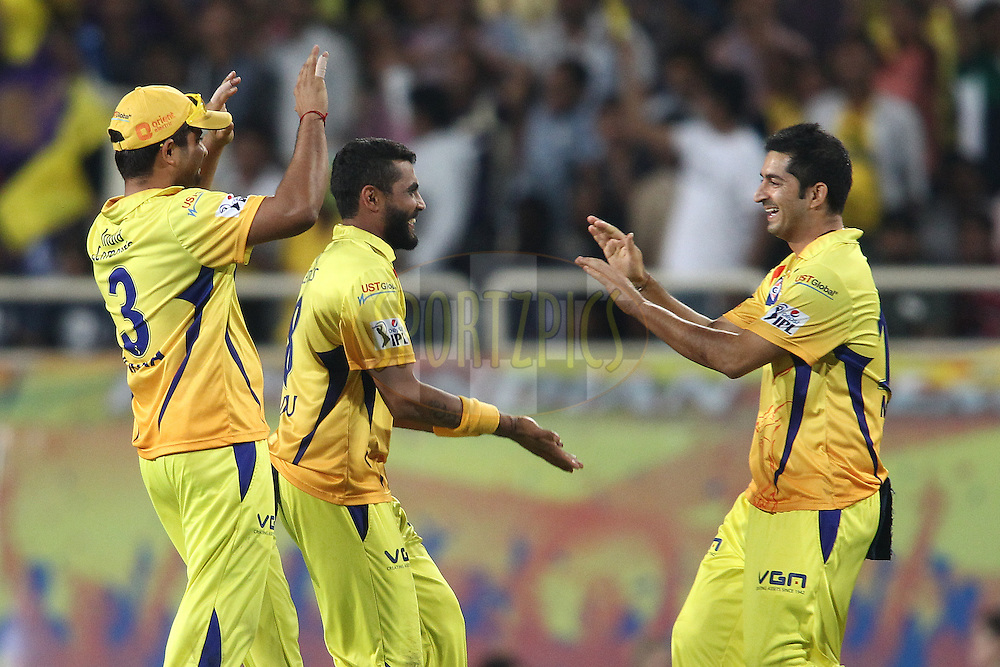 Suresh Raina of The Chennai Super Kings congratulates as Ravindra Jadeja of The Chennai Super Kings and Mohit Sharma of The Chennai Super Kings celebrate getting Shakib Al Hasan of the Kolkata Knight Riders wicket during match 21 of the Pepsi Indian Premier League Season 2014 between the Chennai Superkings and the Kolkata Knight Riders  held at the JSCA International Cricket Stadium, Ranch, India on the 2nd May  2014<br /> <br /> Photo by Shaun Roy / IPL / SPORTZPICS<br /> <br /> <br /> <br /> Image use subject to terms and conditions which can be found here:  http://sportzpics.photoshelter.com/gallery/Pepsi-IPL-Image-terms-and-conditions/G00004VW1IVJ.gB0/C0000TScjhBM6ikg