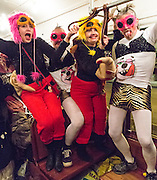 The Phunny Phorty Phellows ride the streetcar heralding the Carnival season
