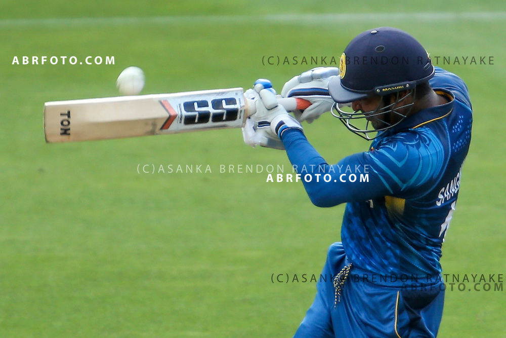 Kumar Sangakkara plays a pull shot as the ball comes off he bat during the 2015 ICC Cricket World Cup Pool A group match between England Vs Sri Lanka at the Wellington Regional Stadium, Wellington, New Zealand.