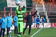 Forest Green Rovers manager, Mark Cooper hands out instructions during the Vanarama National League match between Wrexham FC and Forest Green Rovers at the Racecourse Ground, Wrexham, United Kingdom on 26 November 2016. Photo by Shane Healey.