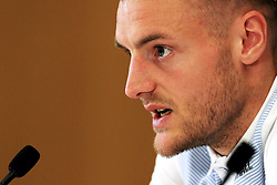 England's Jamie Vardy (Leicester City) speaks to the media - Mandatory byline: Matt McNulty/JMP - 22/03/2016 - FOOTBALL - St George's Park - Burton Upon Trent, England - Germany v England - International Friendly - England Training and Press Conference