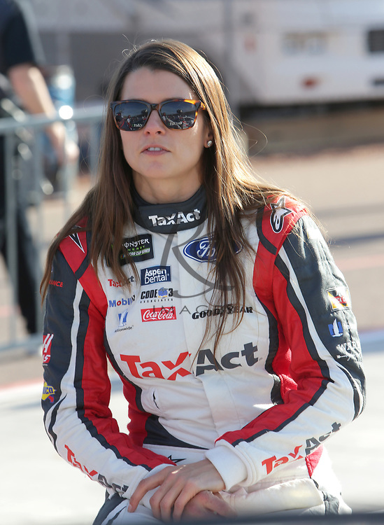 Danica Patrick before qualifying for Sunday's NASCAR Cup Series auto race on Friday, March 17, 2017, in Avondale, Ariz.  (AP Photo/Rick Scuteri)