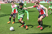 Forest Green Rovers Reuben Reid(26) on the ball during the EFL Sky Bet League 2 match between Cheltenham Town and Forest Green Rovers at LCI Rail Stadium, Cheltenham, England on 14 April 2018. Picture by Shane Healey.