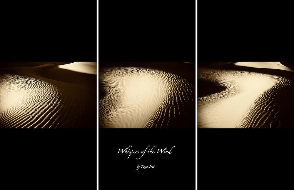 Triptych of desert sand dunes.