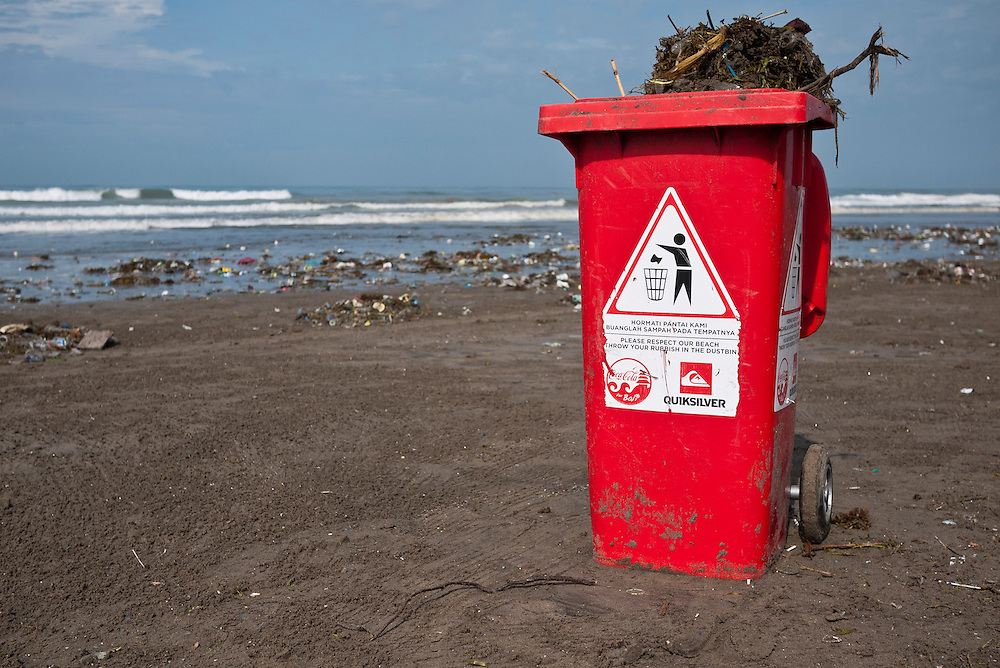 A bin used for rubbish, Kuta, Bali, Indonesia.