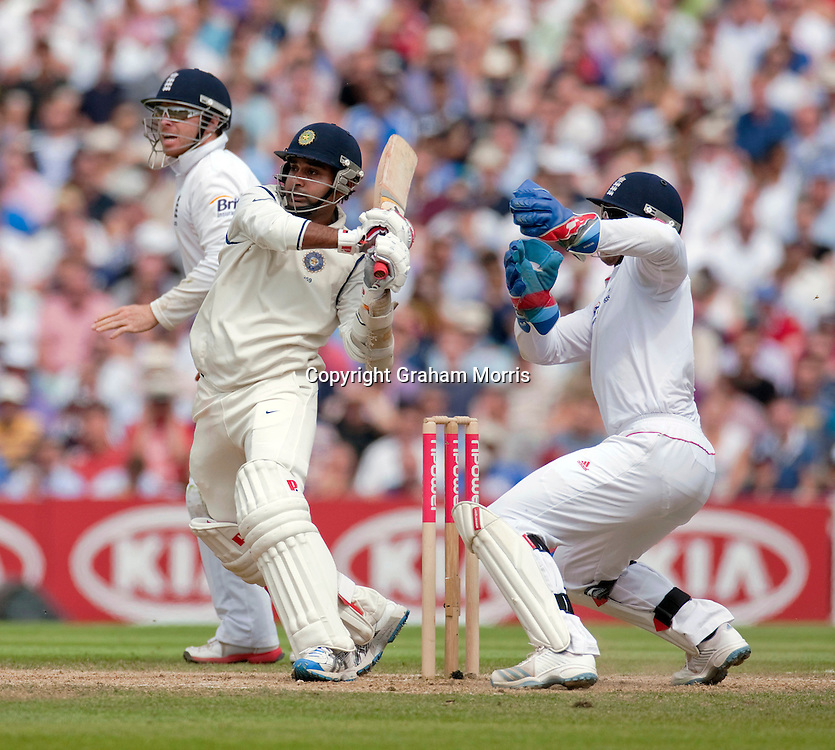 Amit Mishra bats during the fourth and final npower Test Match between England and India at the Oval, London.  Photo: Graham Morris (Tel: +44(0)20 8969 4192 Email: sales@cricketpix.com) 21/08/11