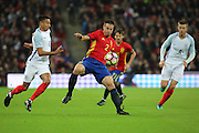 England attacker Jesse Lingard (10) battles for possession with Spain defender Cezar Azpilicueta (02) during the Friendly match between England and Spain at Wembley Stadium, London, England on 15 November 2016. Photo by Matthew Redman.