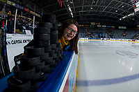 KELOWNA, CANADA - FEBRUARY 2:  Paige Bednorz hams it upon the bench of the Kelowna Rockets against the Kamloops Blazers on February 2, 2019 at Prospera Place in Kelowna, British Columbia, Canada.  (Photo by Marissa Baecker/Shoot the Breeze)