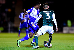 Victor Adeboyejo of Bristol Rovers is marked by Gary Sawyer of Plymouth Argyle - Mandatory by-line: Ryan Hiscott/JMP - 03/09/2019 - FOOTBALL - Home Park - Plymouth, England - Plymouth Argyle v Bristol Rovers - Leasing.com Trophy