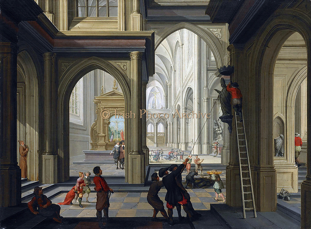 Dirck van Delen (ca. 1604 – 1671) 'Iconoclasts in a church'. 1630 Oil on panel