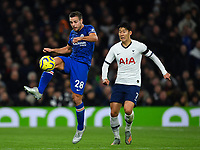 Football - 2019 / 2020 Premier League - Tottenham Hotspur vs. Chelsea<br /> <br /> Chelsea's Cesar Azpilicueta holds off the challenge from Tottenham Hotspur's Son Heung-Min, at The Tottenham Hotspur Stadium.<br /> <br /> COLORSPORT/ASHLEY WESTERN