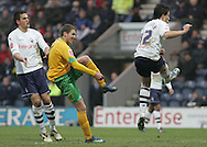 Preston - Saturday February 14th, 2009: Sean St. Ledger of Preston North End attempts to block the shot of Chris Killen of Norwich City during the Coca Cola Championship match at Deepdale, Preston. (Pic by Michael Sedgwick/Focus Images)
