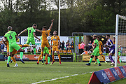 Forest Green Rovers Christian Doidge(9) heads the ball misses the target during the EFL Sky Bet League 2 match between Forest Green Rovers and Cambridge United at the New Lawn, Forest Green, United Kingdom on 22 April 2019.