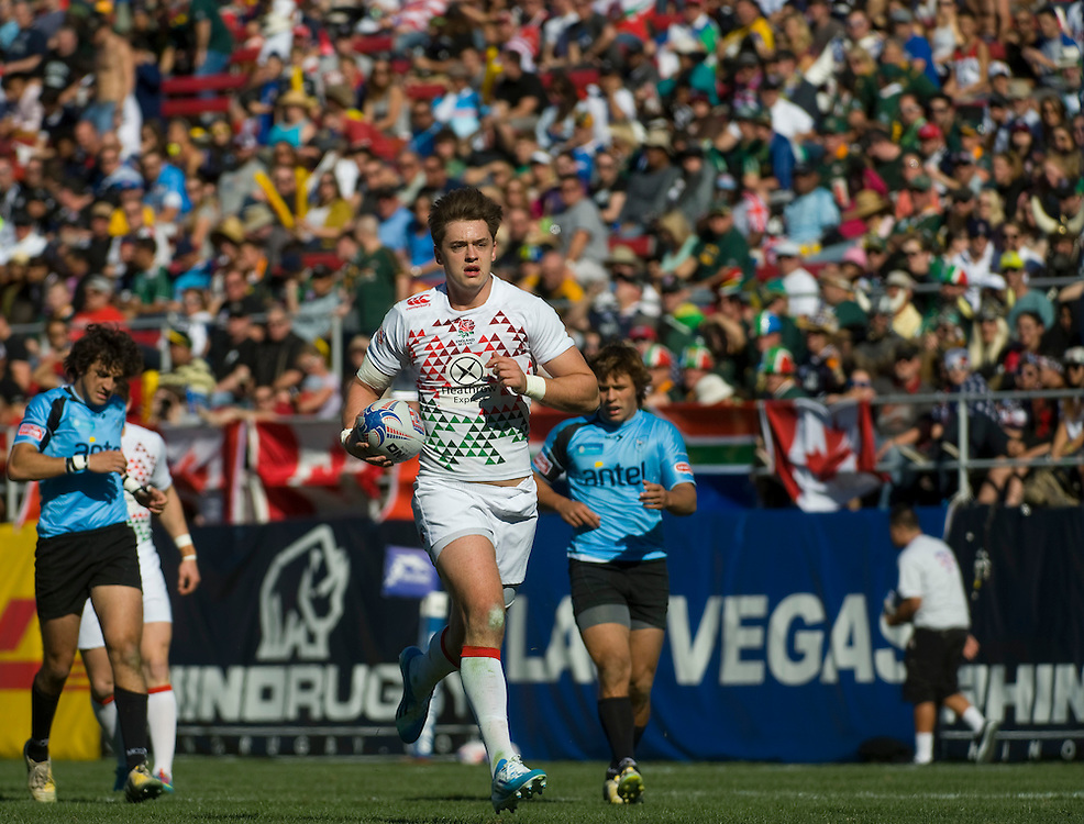 England and Uruguay compete in the USA Sevens on the fourth round of the HSBC Sevens World Series at Sam Boyd Stadium in Las Vegas, Nevada. January 25, 2014. <br /> <br /> (Jack Megaw for USA Sevens)