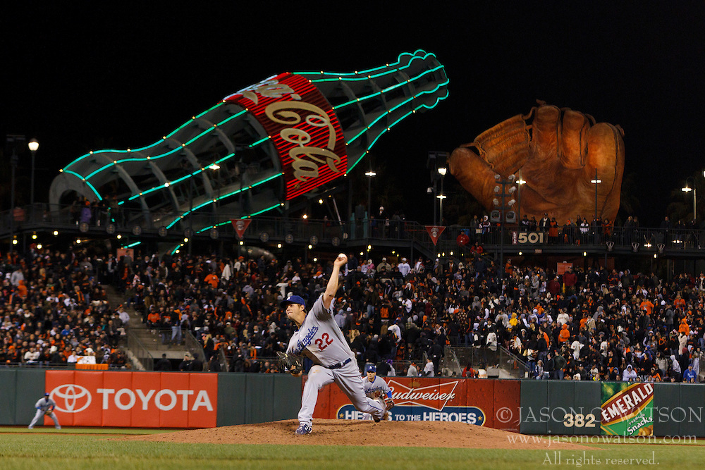 April 11, 2011; San Francisco, CA, USA;  Los Angeles Dodgers starting pitcher Clayton Kershaw (22) pitches against the San Francisco Giants during the seventh inning at AT&T Park.