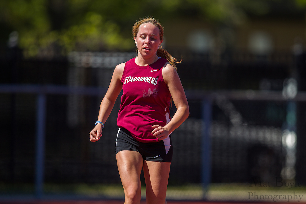 Ramapo College's Courtney Schofield competes in the women's 5000 meter at the NJAC Track and Field Championships at Richard Wacker Stadium on the campus of  Rowan University  in Glassboro, NJ on Saturday May 4, 2013. (photo / Mat Boyle)