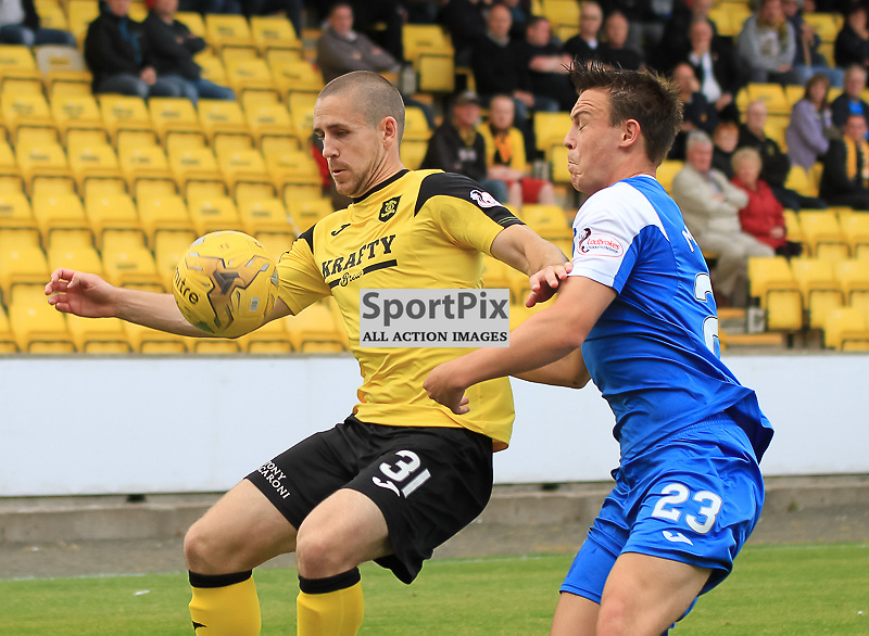 Livingston V Queen of the South Scottish Championship 15 August 2015; Livingston's Gary Glen and Queen of the South's Jordan Marshall during the Livingston V Queen of the South Scottish Championship match played at The Energy Assets Arena, Livingston.