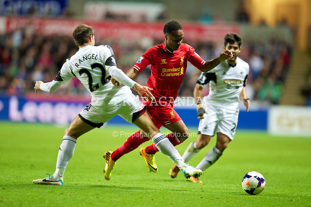 SWANSEA, WALES - Monday, September 16, 2013: Liverpool's Raheem Sterling in action against Swansea City during the Premiership match at the Liberty Stadium. (Pic by David Rawcliffe/Propaganda)
