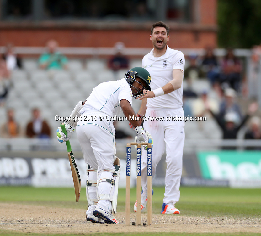 Asad Shafiq is lbw to James Anderson during the second Investec Test Match between England and Pakistan at Old Trafford, Manchester. Photo: Graham Morris/www.cricketpix.com 25/7/16