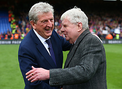 May 13, 2018 - London, England, United Kingdom - L-R Crystal Palace manager Roy Hodgson and John Motson last commentary game for BBC.during the Premiership League match between Crystal Palace and West Bromwich Albion (WBA) at Selhurst Park, London, England on 13 May  2018. (Credit Image: © Kieran Galvin/NurPhoto via ZUMA Press)