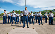 JROTC members during a groundbreaking ceremony at Lamar High School, March 30, 2017.