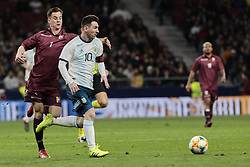 March 22, 2019 - Madrid, Spain - Argentina's Leo Messi and Venezuela's Anor during International Adidas Cup match between Argentina and Venezuela at Wanda Metropolitano Stadium. (Credit Image: © Legan P. Mace/SOPA Images via ZUMA Wire)