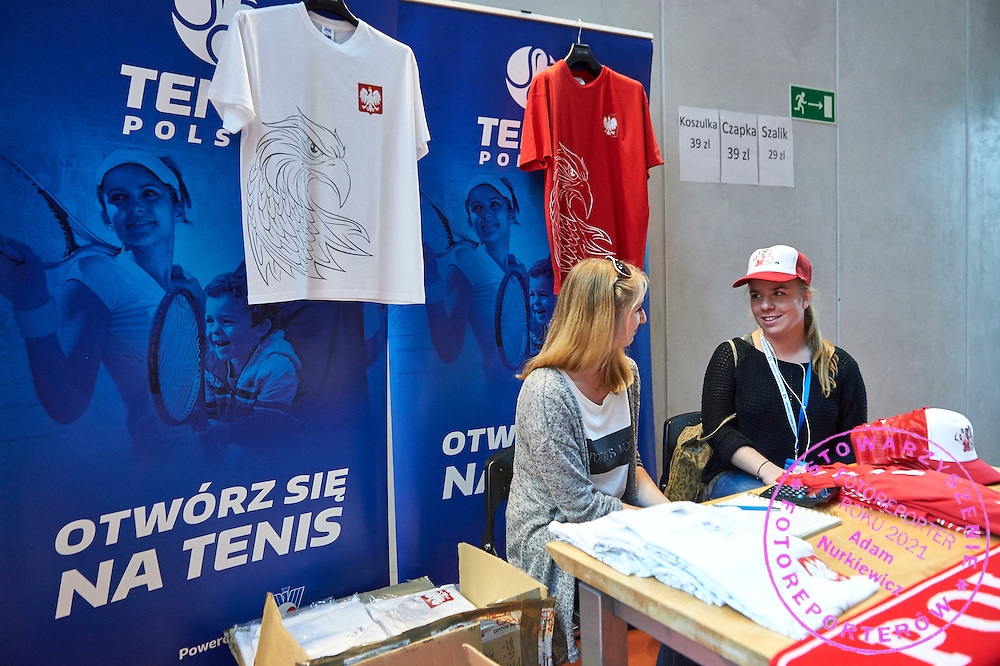 Tenis Polski stand in commercial area during Davis Cup Tie World Group Play-off Poland v Slovakia at Gdynia Arena Hall in Gdynia, Poland.<br /> <br /> Poland, Gdynia, September 18, 2015<br /> <br /> Picture also available in RAW (NEF) or TIFF format on special request.<br /> <br /> For editorial use only. Any commercial or promotional use requires permission.<br /> <br /> Adam Nurkiewicz declares that he has no rights to the image of people at the photographs of his authorship.<br /> <br /> Mandatory credit:<br /> Photo by &copy; Adam Nurkiewicz / Mediasport