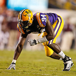 November 13, 2010; Baton Rouge, LA, USA; LSU Tigers defensive end Kendrick Adams (94) lines up during the first half against the Louisiana Monroe Warhawks at Tiger Stadium.  Mandatory Credit: Derick E. Hingle