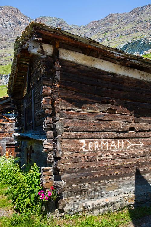Traditional chalet in village of Zmutt in the Swiss Alps near Zermatt, Switzerland