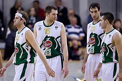 Matt Walsh (44) of Olimpija, Uros Slokar (15) of Olimpija. Vladimir Golubovic (21) of Olimpija and Sani Becirovic (7) of Olimpija at basketball match of 4th Round of NLB League between KK Union Olimpija and KK Crvena zvezda,  on October 24, 2009, Arena Tivoli, Ljubljana, Slovenia.  Union Olimpija won 94:76.  (Photo by Vid Ponikvar / Sportida)